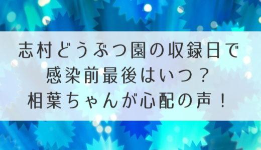 志村どうぶつ園の収録日で感染前最後はいつ?相葉ちゃんが心配の声!